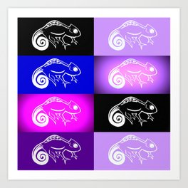 Purple chameleon collage, purple and pink designs, purple and pink cushon Art Print