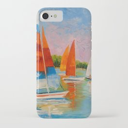 Sailboats on the river iPhone Case