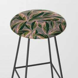 Calathea Leaves Pattern- Pink Green Gray Bar Stool