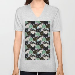 Cat Faces, Magnolia Flowers and Monstera Leaves Unisex V-Neck