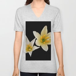 White flowers with black Unisex V-Neck