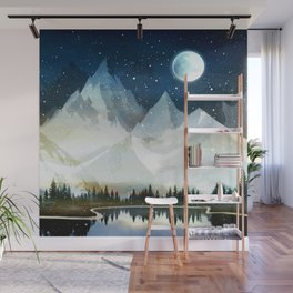 Mountain Lake Under the Starlight Wall Mural