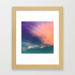 Dramatic Sunset Sky - pink purple and aqua cloudscape Framed Art Print