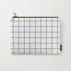 White Black Grid Minimalist Carry-All Pouch