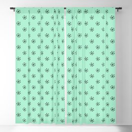 Black on Magic Mint Green Snowflakes Blackout Curtain