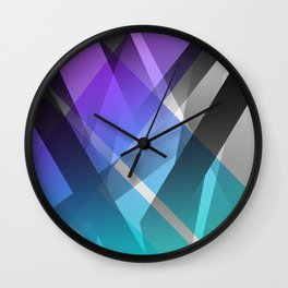 Transparent Abstract Geometric Shapes Purple and Teal Wall Clock