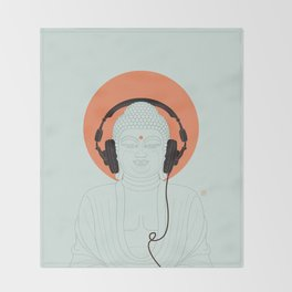 Buddha : Listen to Om! Throw Blanket