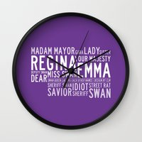 swan queen Wall Clocks featuring Swan Queen Nicknames - Purple (OUAT) by CLM Design