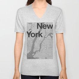 New York - Minimal Map Unisex V-Neck