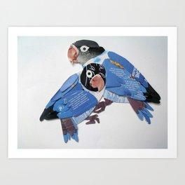 blue masked lovebird Art Print