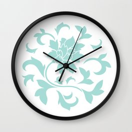 Oriental Flower - Limpet Shell Circular Pattern On White Background Wall Clock