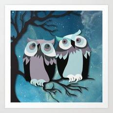 Owls In Moonlight Art Print
