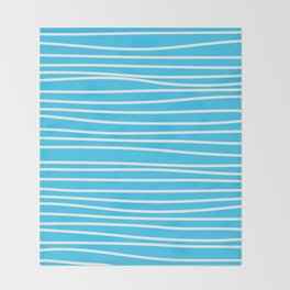 Simply small aqua and white handrawn stripes - horizontal - for your summer on #Society6 Throw Blanket