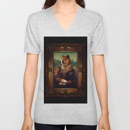 Doge Mona Lisa Fine Art Shibe Meme Painting Unisex V-Neck