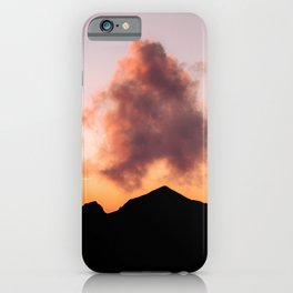 Minimalist Cloud lit up by a Summer Sunset in the Mountains - Landscape Photography iPhone Case
