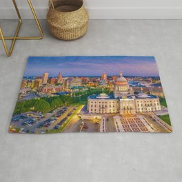 Downtown Providence, Rhode Island Twilight Cityscape landscape painting Rug