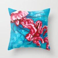 jellyfish Throw Pillows featuring Jellyfish by missfortunetattoo