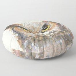 Owl Great Horned Owl Watercolor Floor Pillow