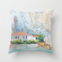 Sanibel Island, FL lighthouse Throw Pillow