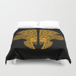 Yellow and Black Aztec Twins Mask Illusion Duvet Cover