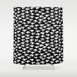 Black and white eyes pattern linocut minimal minimalist gifts decor Shower Curtain