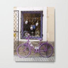Purple Bicycle Metal Print
