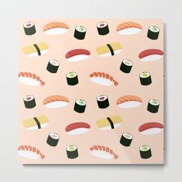 Japan sushi  illustration on pastel pattern Metal Print