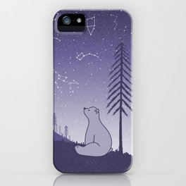 Bear and Constllations bule iPhone Case