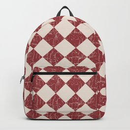 Farmhouse Checkerboard in Brick Red on Cream Backpack
