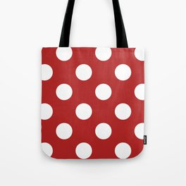 Large Polka Dots - White on Firebrick Red Tote Bag