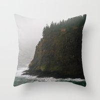 oregon Throw Pillows featuring Oregon Coast: III // Oregon by Corrie Mick