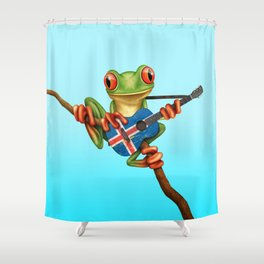 Tree Frog Playing Acoustic Guitar with Flag of Iceland Shower Curtain