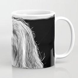 hairy havanese dog vector art black white Coffee Mug