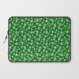 Festive Green and White Christmas Holiday Snowflakes Laptop Sleeve