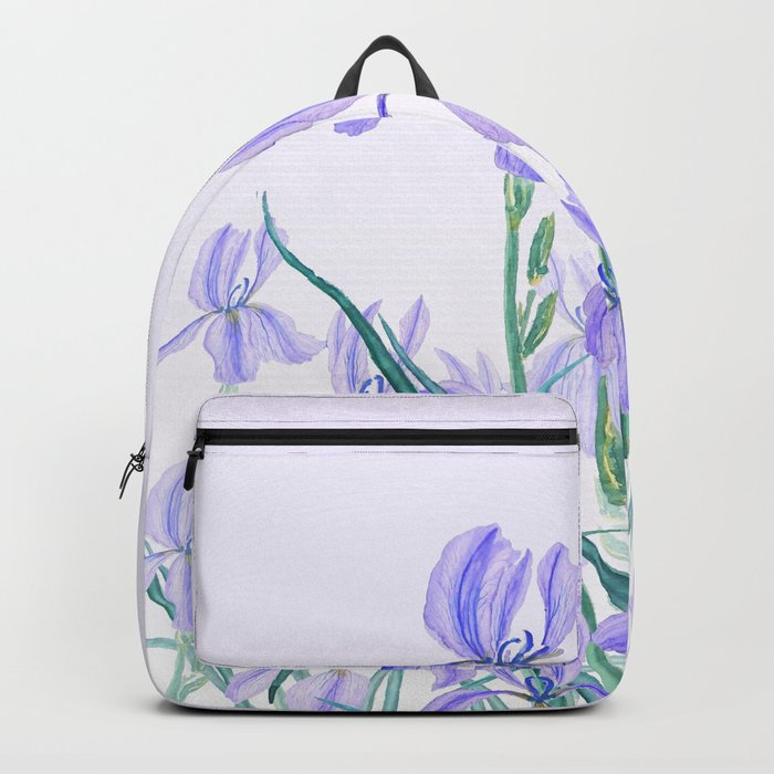 purple iris watercolor Backpack
