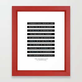 First Amendment to the U.S. Constitution Framed Art Print