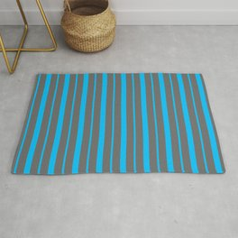 Dim Gray and Deep Sky Blue Colored Striped/Lined Pattern Rug