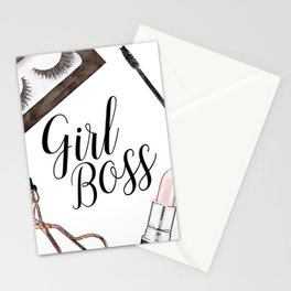 Girl Boss, quote, make up, Makeup, Brows, Eyeliner, Lashes, Vanity, make up print, make up quote Stationery Cards