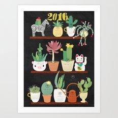 Cacti Calender 2016 Art Print