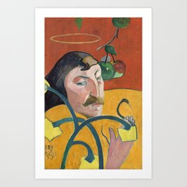 Self-Portrait with Halo and Snake by Paul Gauguin Art Print