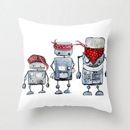 Robot gang Throw Pillow