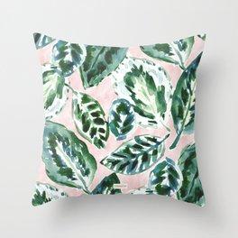 COAXING Calathea Green Blush Leaves Throw Pillow