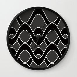 Curvlinear in black , white and gray Wall Clock