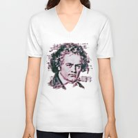 beethoven V-neck T-shirts featuring Beethoven by Zandonai
