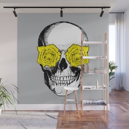 Skull and Roses | Grey and Yellow Wall Mural