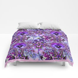 AWESOME GEOMETRIC LILAC PURPLE PANSIES GARDEN ART Comforters