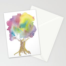 Dreaming tree - watercolor and ink whimsical illustration Stationery Cards