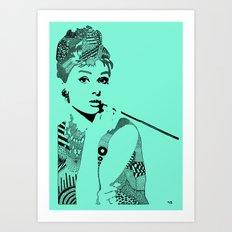 Audrey Hepburn turquoise Art Print