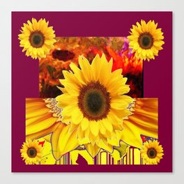 BURGUNDY MODERN YELLOW  SUNFLOWERS ABSTRACT DESIGN Canvas Print