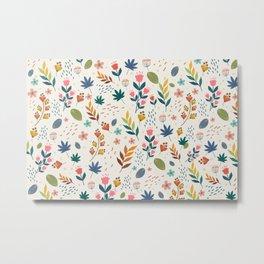 Vintage Style Floral Pattern  Metal Print